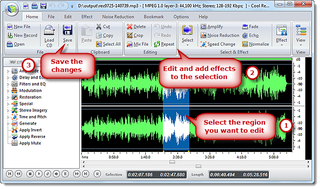 Free sound recorder feature tour how to edit audio files